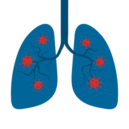 Human lungs. Coronavirus, COVID-19 concept. Respiratory system. Vector illustration.