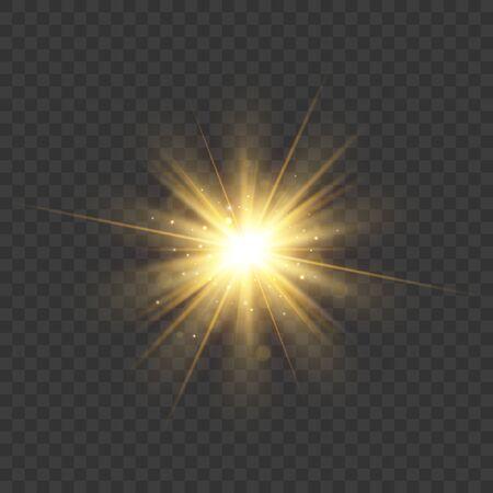 Gold glitter star burst with sparkles. Vector glow light effect EPS10