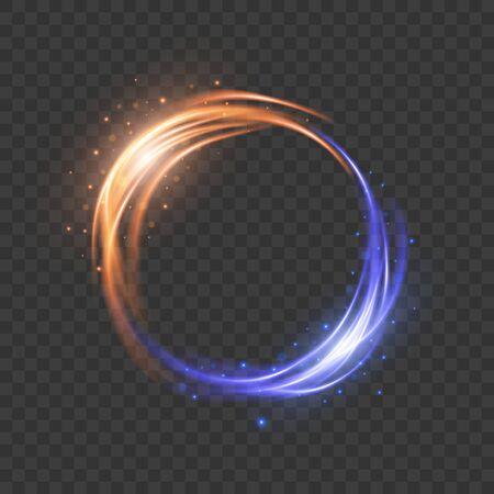 Glow light effect. Magic round frame. Vector illustration EPS10