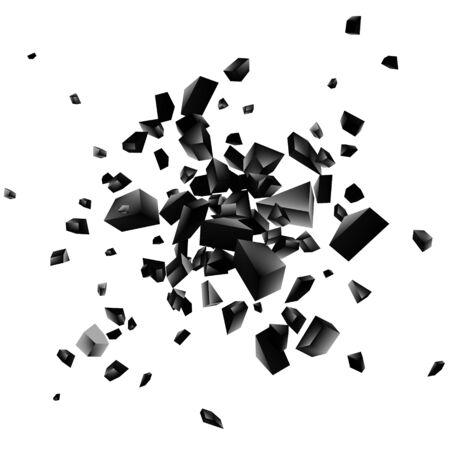 Black explosion on white background. Explosion cloud of black pieces. Abstract vector illustration EPS10 Illusztráció