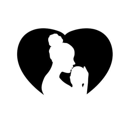Mother and her child logo. Vector illustration EPS10 Illusztráció