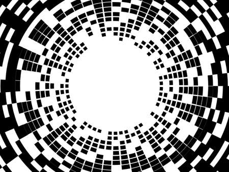 Abstract radial halftone background. Black and white vector illustration. EPS10