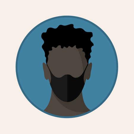Man face with flu mask. Flat icon. Vector design EPS10 Illusztráció