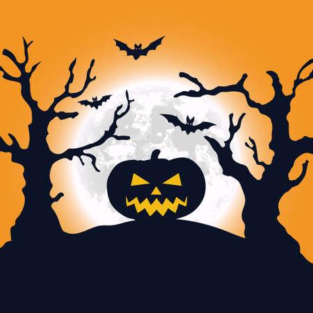 Halloween night background. Pumpkin and full moon. Vector banner EPS10 Ilustración de vector