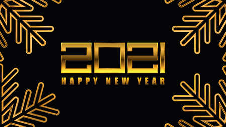 Happy New Year poster. Golden 2021 background. Vector illustration