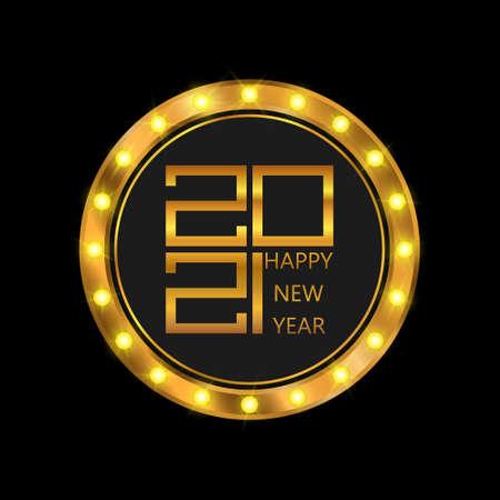 Happy New Year poster. Golden 2021 logo. Shining retro light banner. Vector illustration