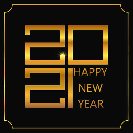 Happy New Year poster. Golden 2021 logo. Vector illustration