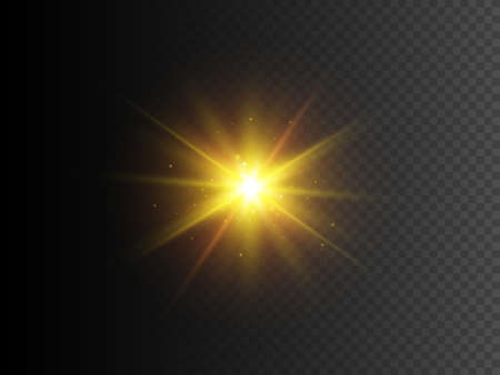 Gold star with sparkles. Vector transparent glow light effect. EPS10