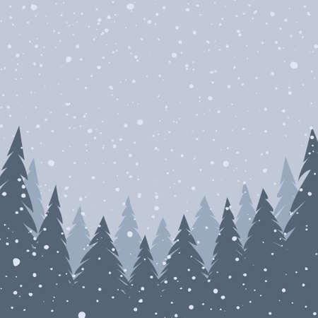 Winter landscape. Falling snow. Christmas background. Vector illustration EPS10