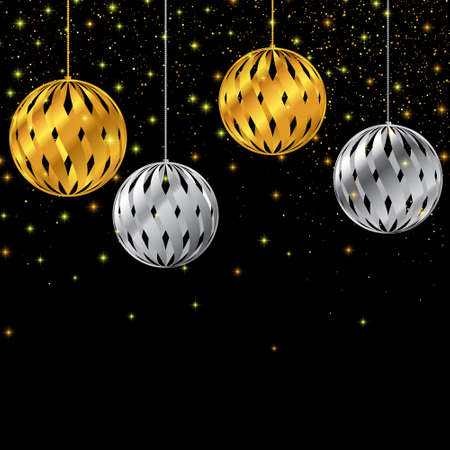 Golden and silver christmas toys. New Year background. Vector illustration EPS10