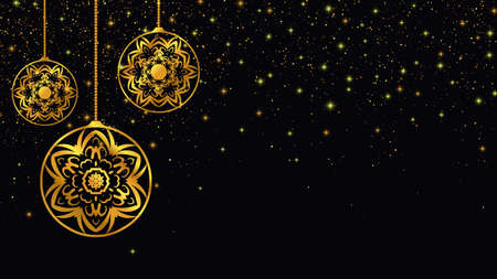 Golden christmas toys. New Year background. Vector illustration EPS10