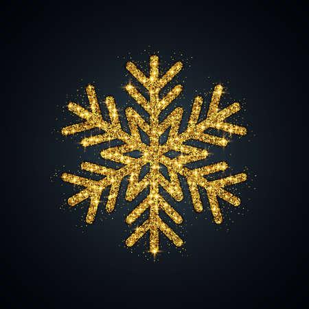Gold Glitter Snowflake. Christmas, New Year symbol. Vector Illustration EPS10 Ilustração