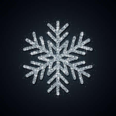 Silver Glitter Snowflake. Christmas, New Year greeting card. Vector Illustration EPS10 Ilustração