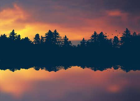 Colorful sunset. Realistic nature background. Vector landscape EPS10 Ilustração