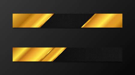 Vector full banners set. Black and gold metal background. EPS10 Illusztráció