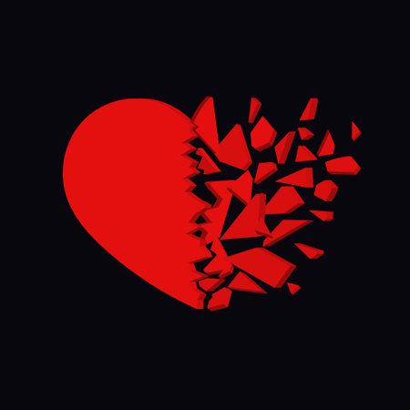 Broken heart icon. Unhappy relationship sign. Vector design