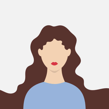 Silhouette woman. Girl with long hair and red lips. Vector illustration EPS10