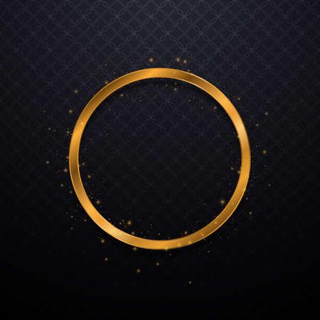 Luxury golden round frame. Gold glitter background. Vector illustration EPS10 Illusztráció
