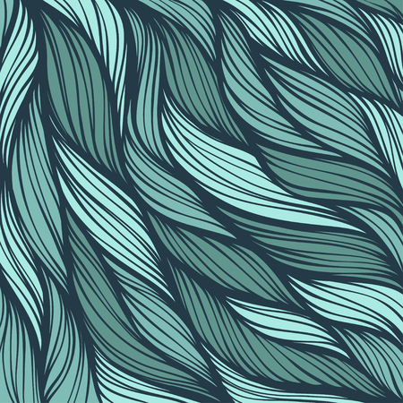 ocean waves: Abstract hand-drawn hair pattern background Illustration
