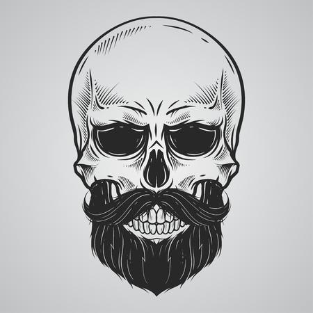 Bearded skull illustration