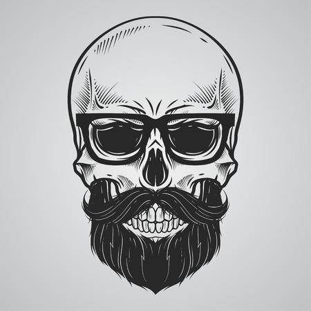 skeleton man: Bärtige Schädelillustration