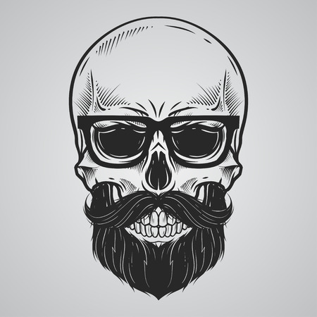 died: Bearded skull illustration