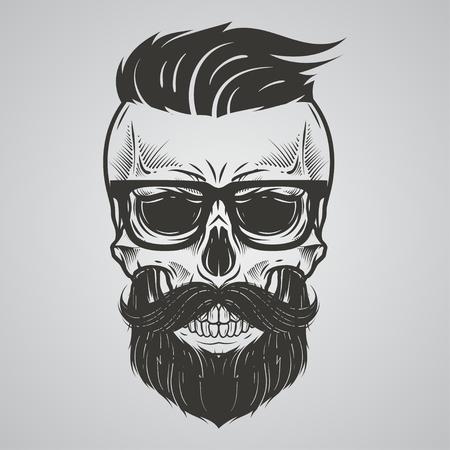 Brodaty ilustracja czaszki Ilustracje wektorowe