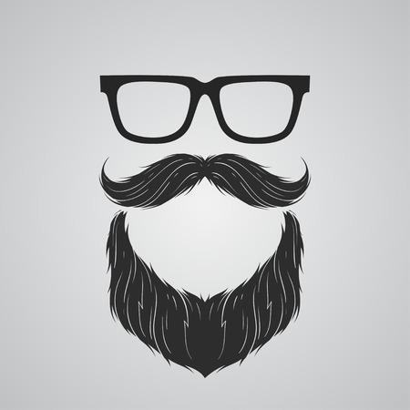 beard: Beard, mustache and glasses Illustration