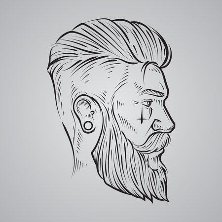 profile: hand draw, hipster label badge, for simple iilustration, man, profile view