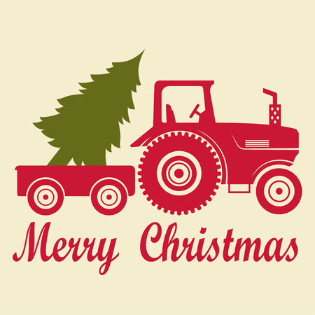 Christmas tractor with a trailer and a tree Illustration