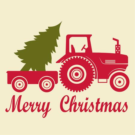 Tractor navideño con remolque y árbol. Ilustración de vector