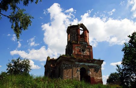 ruinous: the old ruinous church with stork nest near Vitebsk Belarus