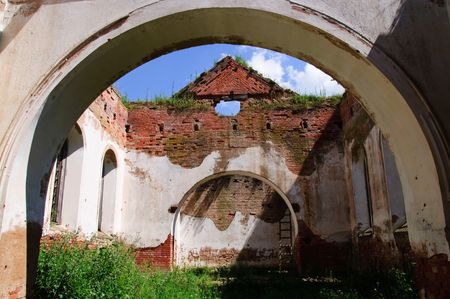 plasterwork: the old ruinous church near Vitebsk Belarus Stock Photo