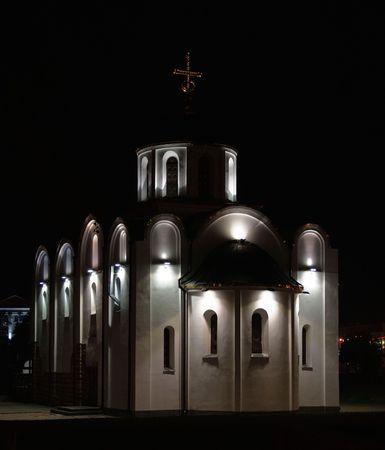 aureola: the old renovated little church near Dvina river Vitebsk Belarus