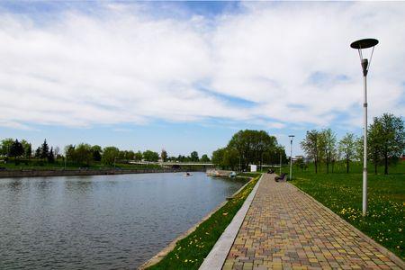 appease: summer day embankment near belorussian national library Minsk