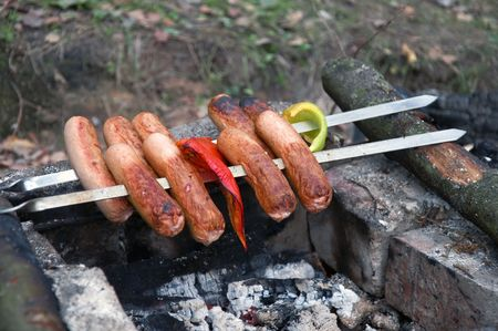 tasty skewer threaded sausages paprica and  bonfire site closeup photo
