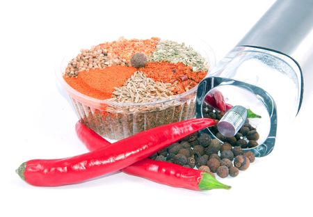 spicery: nice differnet spicery set hot chili peppers allspice tree and and saltcellar over white  Stock Photo