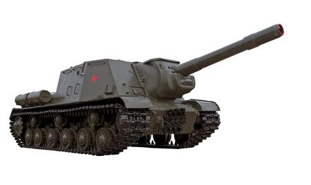 world war two: world war two legendary soviet self-propelled gun ISU-152 or tank hanter isolated over white background