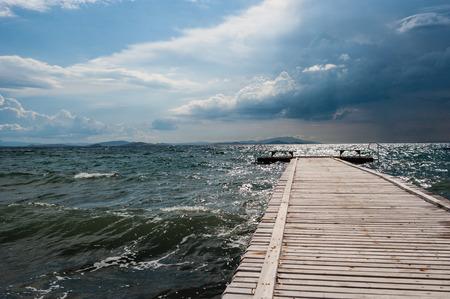 Seashore view with quay from Aegean sea Turkey