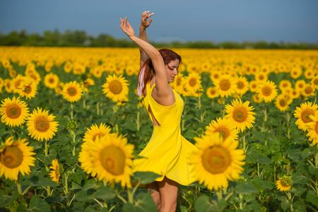 Red-haired woman in a yellow dress dancing with raised hands in a field of sunflowers. Beautiful girl in a skirt sun enjoys a cloudless day in the countryside. Pink locks of hair Banco de Imagens
