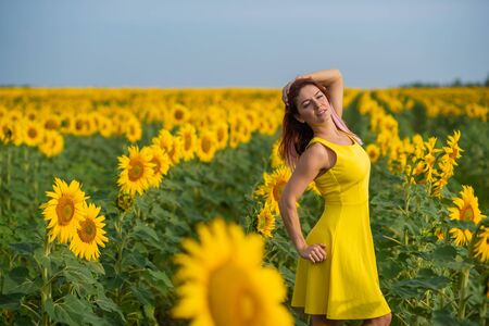 A red-haired woman in a yellow dress is standing in a field of sunflowers. Beautiful girl in a skirt sun enjoys a cloudless day in the countryside. Pink locks of hair