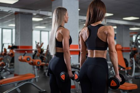 Two young, beautiful girls stand with their backs to the camera and hold dumbbells in their hands. Very prominent muscles. gym.