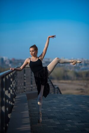 Ballerina in a tutu posing standing by the fence. Beautiful young woman in black dress and pointe dancing outside. Gorgeous ballerina performing a dance outdoors