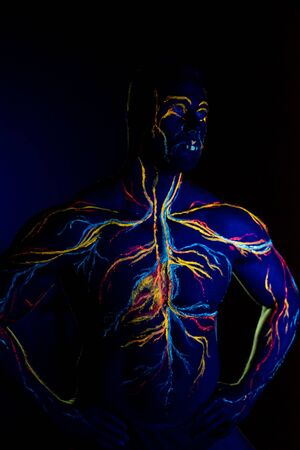 UV picture of the circulatory system body art on the body of an adult male. On the chest of a muscular athlete, veins and arteries are drawn with fluorescent dyes. Neon light. Stock Photo
