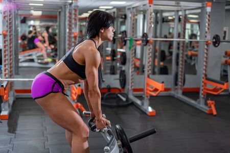 Exercising. Thrust T-shaped on the back muscles in the slope. eautiful woman in seductive shorts is training her back muscles with a simulator. Girl is preparing for a bikini contest.