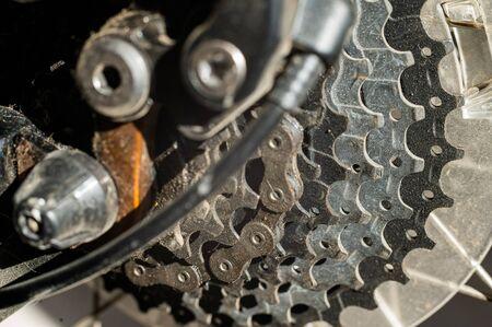 Mountain bike wheel gears closeup. Brake system. Close-up. Shifting speeds. Banque d'images