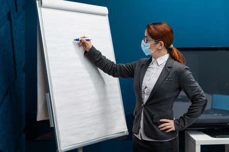 A woman in a medical mask leads a seminar in a conference hall. Business coach writes on a paper white board in the office. Female employee demonstrates presentation while maintaining social distance.