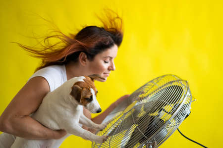 A large electric fan blows cold air onto a Caucasian woman and a dog. Girl with flying red hair under the influence of cold air holds Jack Russell Terrier.