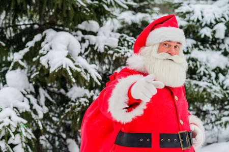 Santa claus greets in the snowy coniferous forest in December. Christmas time. An elderly gray-haired man in a Santa Claus costume posing outdoors.