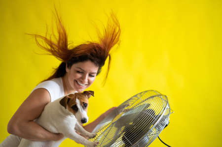 Beautiful caucasian woman and a dog are cooling off by an electric fan. A girl with her pet Jack Russell Terrier freshen up at the air conditioner. Red hair develops under the blow of cold air.
